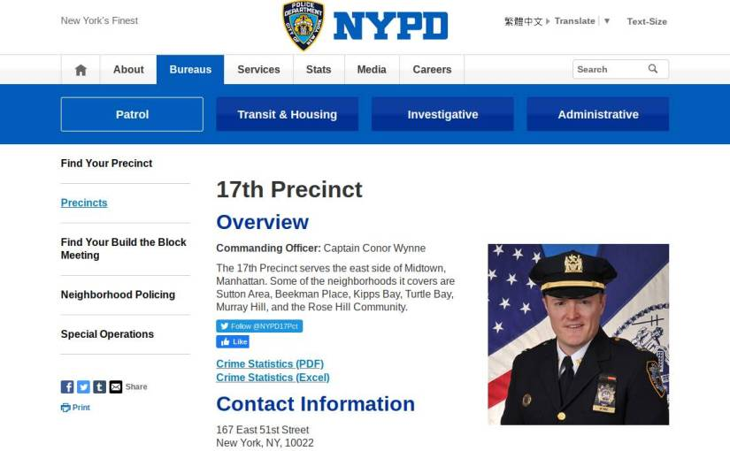 The NYPD 17th Precinct blocked me from obtaining a Police report again just now.